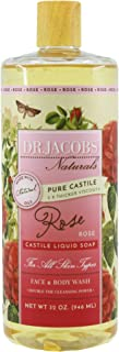 Dr. Jacobs Naturals Pure Castile Liquid Soap - Natural Face and Body Wash, 32 oz. - Free of Parabens, Sulfates, Synthetics, Gltuen and GMO (Rose)