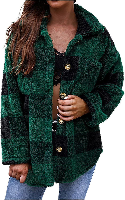 Fall Clothes Ladies Plaid Warm Comfortable Lapel Button Pockets