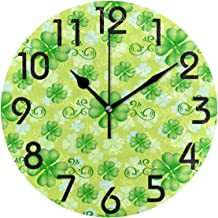 Dozili Stylish Lucky Clover Pattern St. Patrick's Day Round Wall Clock Arabic Numerals Design Non Ticking Wall Clock Large for Bedrooms,Living Room,Bathroom
