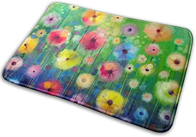 Watercolor Abstract Spring Summer Seasonal Green Floral Flowers Art Large Doormats, Non Slip Durable Washable Home Decorative Door Mats Rugs for Entrance Bedroom Bathroom Kitchen, 23 X 16 Inches