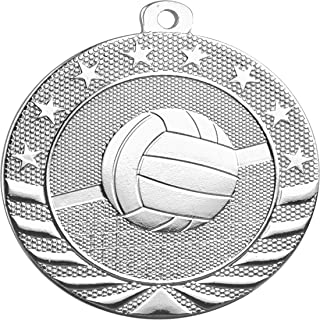 Express Medals Volleyball Silver 2nd Place Medal with Neck Ribbon Award SB1