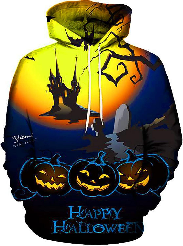 XXBR Hoodies for Mens, 3D Halloween Pumpkin Jack-o-Lantern Printed Drawstring Pullover Fashion Fall Hooded Sweatshirts