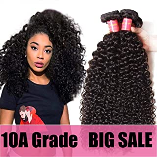 Klaiyi Hair 12 14 16inches Indian Hair 3 Bundles Curly Hair Extensions, Unprocessed Virgin Curly Human Hair Weave Weft, Natural Black Hair Color