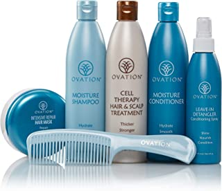 Ovation Hair Holiday Gift Set - Moisture System with Cell Therapy - Get Stronger, Fuller & Healthier Looking Hair with Natural Ingredients - Includes Shampoo, Conditioner, Repair Mask, Detangler, Comb