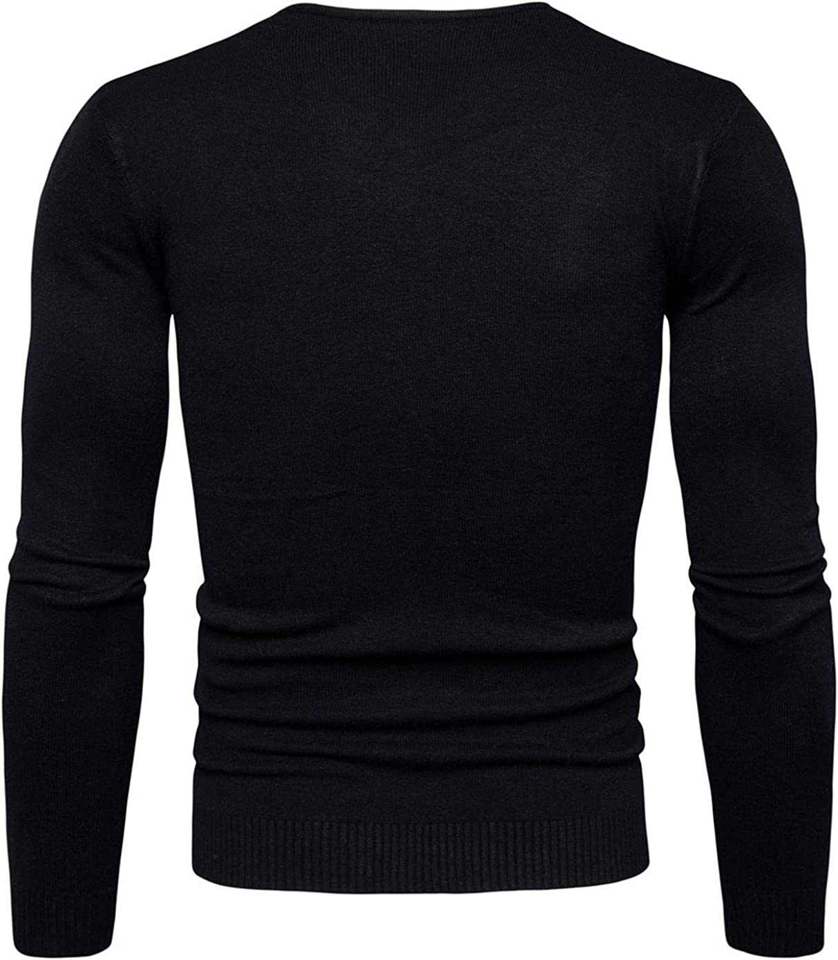 Soluo V-Neck Sweater for Men Lightweight Spring Pullover Sweater Merino Wool and Cotton Knit Underwear (Black,XX-Large)