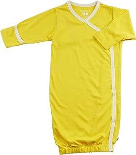 Babysoy Eco Essential Kimono Bundler - Long Sleeve Baby Sleeper Gown (3-6 Months, Banana)