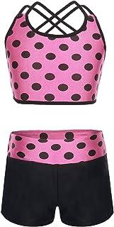Alvivi Bañadores de Dos Piezas Traje de Baño Lunares Crop Top+Pantalónes Cortos Bodysuit Bikini Ropa de Playa Conjuntos De...