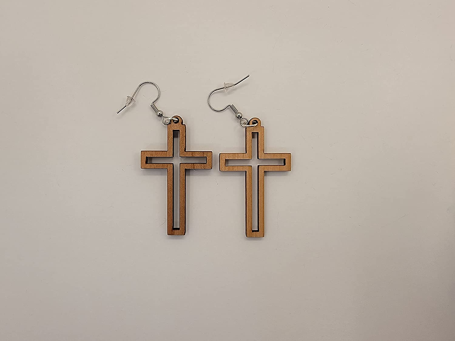 Cross Design 1 Laser Cut Alder Style Hook Opening large release sale Wood Year-end annual account Earrings Satin