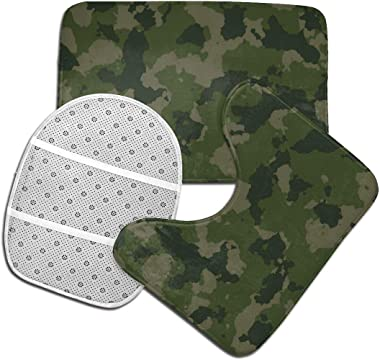 Camoflauge Woodland Camo Navy Army Paintball Bathroom Rugs Set Soft Bath Mats for Floor Rug Contour Mat Non-Slip with Rubber Backing 3 Piece