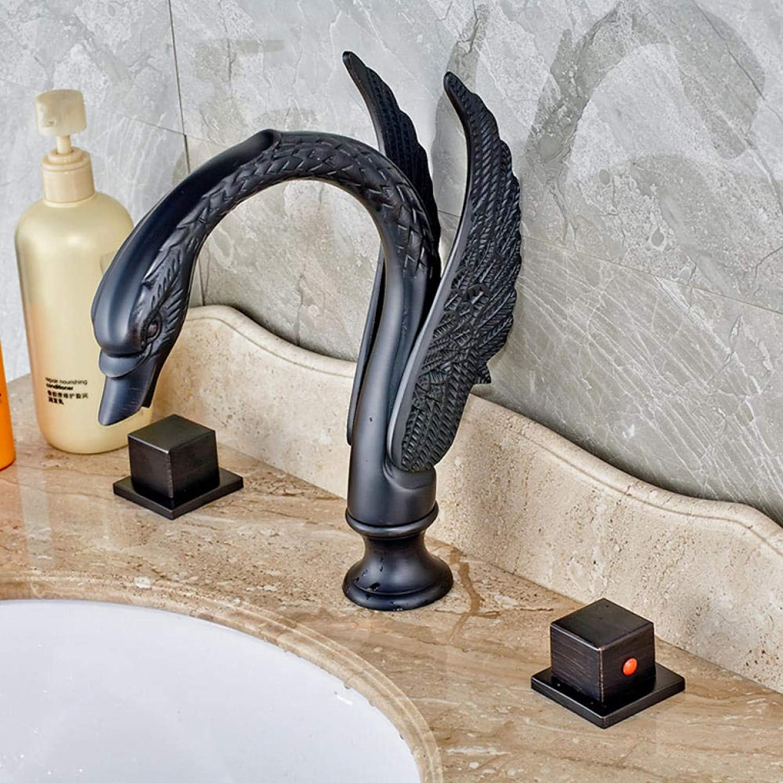 Schwan Form verbreitet zwei Flügel Becken Wasserhahn l eingerieben Bronze Mischbatterie für Waschbecken
