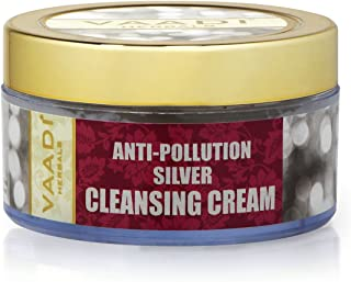 Pure Silver Dust and Sandalwood Oil Herbal Facial Cleansing Creams - ALL Natural - Paraben Free - Sulfate Free - Suitable for Both Men and Women - Good for All Skin Types (Oily, Glowing, Dry, Normal, Combination, Sensitive) - 1.8 Ounces - Premium Quality - Vaadi Herbals