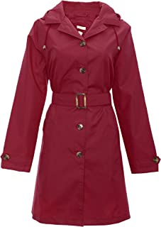 Ladies Solid Mid Length Trench Rain Slicker with Removable Hood