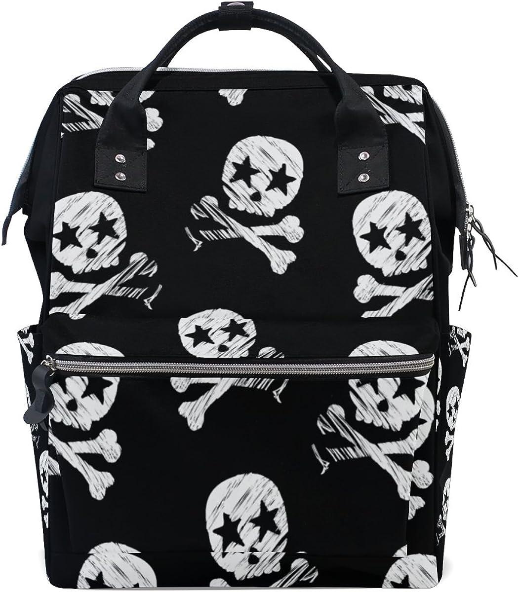 My Little Nest Large Capacity Baby Diaper Bag Star Skull Print Durable Multi Function Travel Backpack for Mom Girls