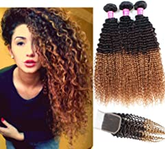 Allove Hair 8A Brazilian 3 Tone Ombre Color Kinky Curly Virgin Human Hair 3 Bundles with Free Part Lace Closure Ombre 4X4 Remy Human Curly Hair Bundles Extensions (14 16 18+12)