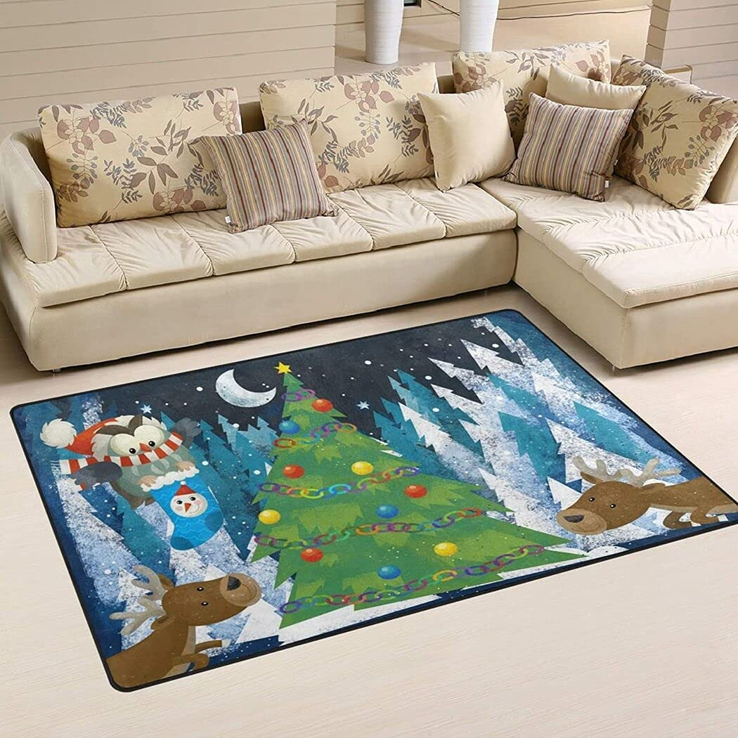 Winter Scene with Forest High quality Animals Reindeers and Claus Owl N Sales for sale Santa
