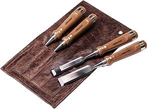 Libraton Professional 4pcs Ensemble de ciseaux à bois Poignées en bois robustes Ensembles de ciseaux Cr-V avec étui en cui...
