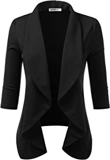 Womens Lightweight Thin 3/4 Sleeve Open Front Blazer with...