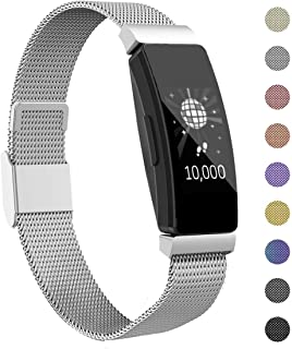Intoval Bands Compatible with Fitbit Inspire HR Bands/Fitbit Inspire Bands, Stainless Steel Replacement Bands for Men Women (Small, Silver)