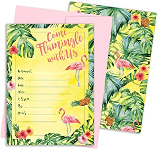 Flamingo Pineapple Party Invitation Cards with Envelopes, 10 Count