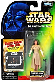 PRINCESS LEIA ORGANA IN EWOK CELEBRATION OUTFIT & FREEZE FRAME ACTION SLIDE Star Wars 1998 The Power of the Force Action F...