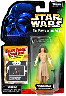 PRINCESS LEIA ORGANA IN EWOK CELEBRATION OUTFIT & FREEZE FRAME ACTION SLIDE Star Wars 1998 The Power of the Force Action Figure