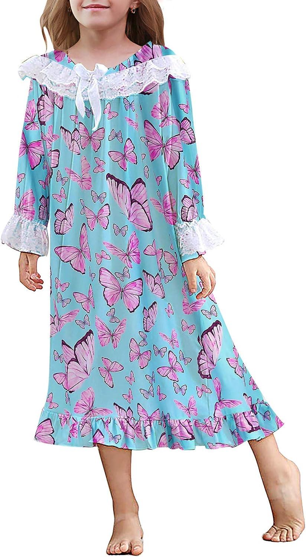 uideazone Girls Nightgowns Lace Printing Nightdress Pajamas Dress Cute Princess Sleepwear Nightshirt 4-12 Years