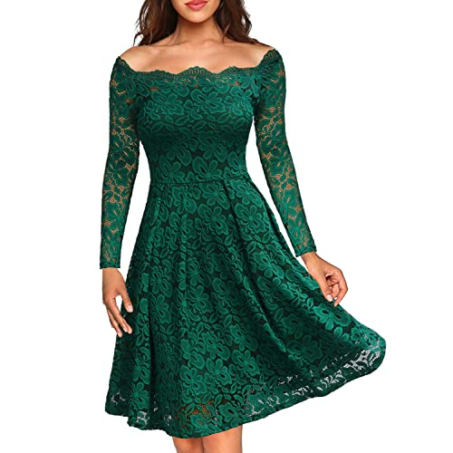 1ba03676ae59 MISSMAY Women s Vintage Floral Lace Boat Neck Cocktail Formal Swing Dress
