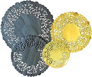 The Baker Celebrations Combo Pack of 100 - Black and Gold Foil Paper Lace Doilies 4, 6 and 8 inches - Premium Quality - Made in Canada