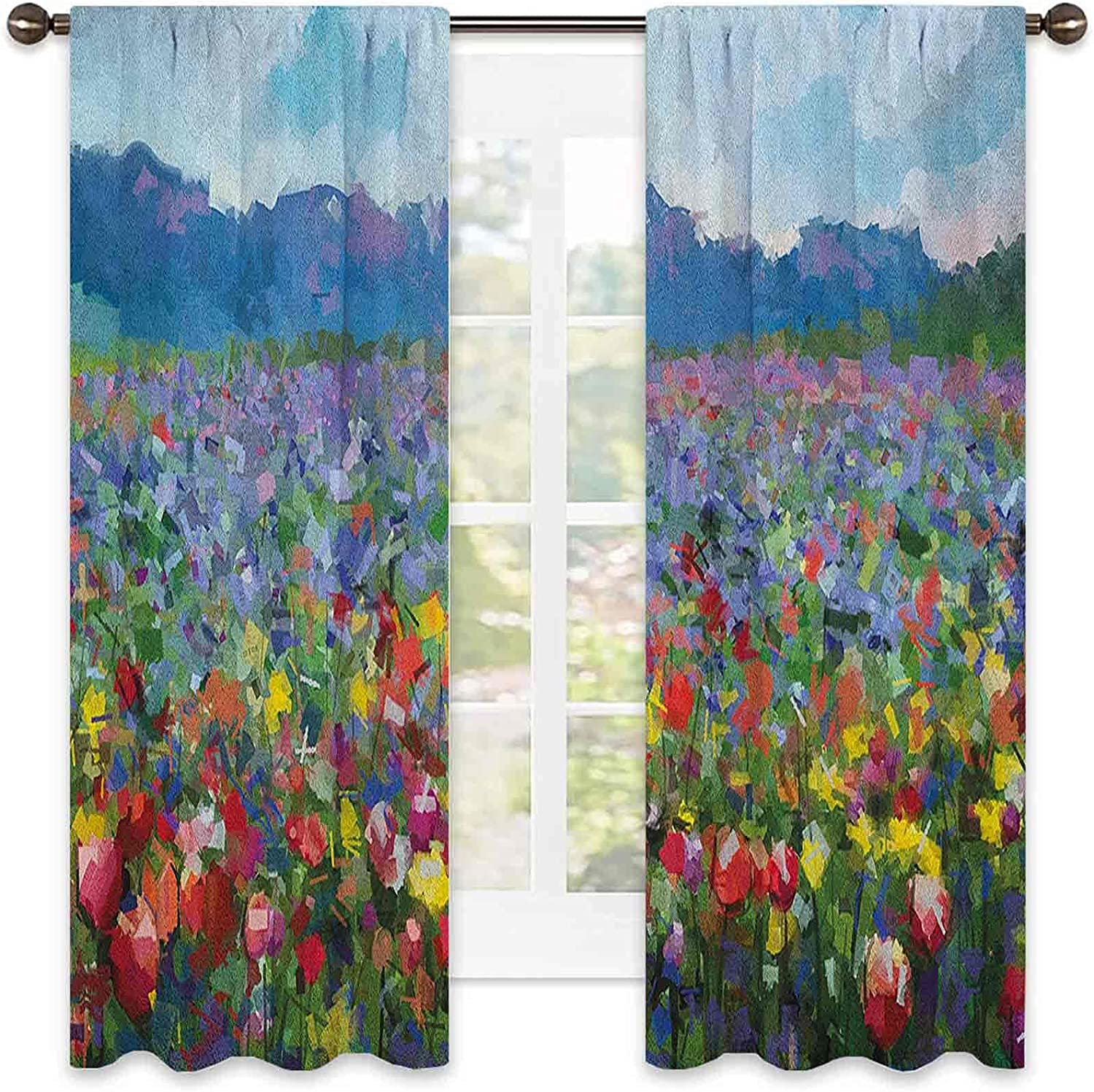 Art Super special price 99% Blackout Curtain Rural Landscape Be super welcome Fl with Tulip of Bunch