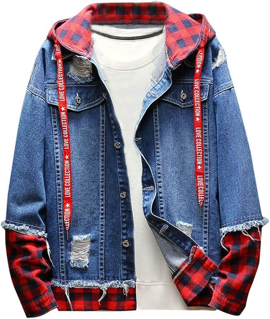 MODOQO Men's Hoodies Jacket Long Sleeve Casual Loose Fit Denim Outwear Coat