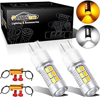 Partsam Pack 2 7443 7440 7444NA White Amber Switchback Front Turn Signal Light Bulbs + 50W-6Ohm Load Resistors