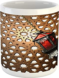 Ambesonne Lantern Mug, Egyptian Fanoos in a 3D Style Realistic Illustration Moroccan Backdrop Design, Printed Ceramic Coffee Mug Water Tea Drinks Cup, Umber Red Grey