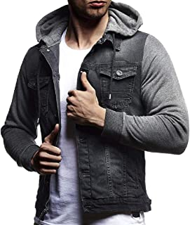Highisa Mens Drawstring Long Sleeve Fleece Lined Hooded Jean Coat
