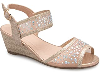 Girl's Peep Toe Rhinestone Ankle Strap with Adjustable Buckle Wedge Sandals - Adorable, Comfort, Casual