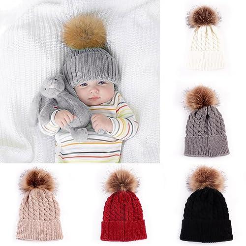b1c72592048 oenbopo Baby Winter Warm Knit Hat Infant Toddler Kid Crochet Hairball Beanie  Cap