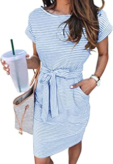 Women's Summer Striped Short Sleeve T Shirt Dress Casual...