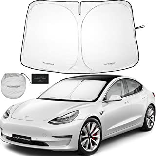 Autoamerics 1-Piece Windshield Sunshade Specially Designed for Tesla Model 3 and Y - Best Foldable Lightweight M3 Sun Shie...