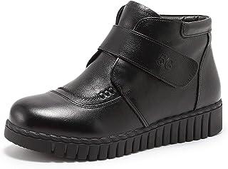 Leather Cotton Boots Martin Boots Plus Velvet Warm Cotton Shoes Non-slip Slope Heel Mother Cotton Shoes