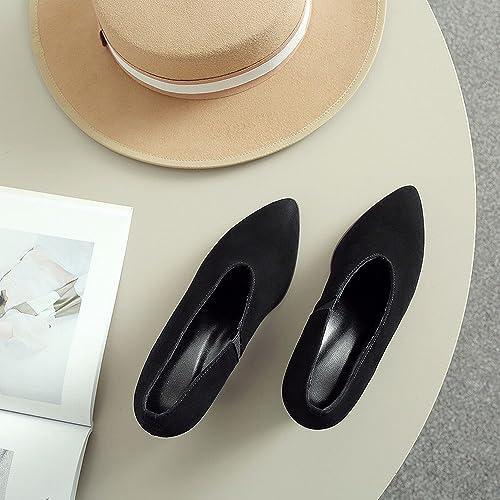 DIDIDD Printemps Au Début du Printemps Talons Hauts Chaussures Paresseuses en Cuir Chaussures Femmes Frougeter Rugueux avec OL Chaussures,8.5cm Noir avec,34