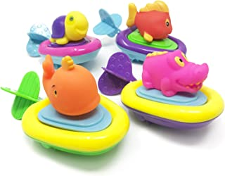 Boley 4 Pack Pull String Animal Surfer Bath Toy Set - Educational Toy Perfect for Kids, Children, Toddlers - Ideal for Kids's Water Parties, Bathtub Fun, Or Summer Pool Parties!