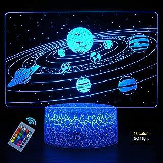 Illusion Optique 3D Planète Étoile Nuit Lampe 16 Couleurs Changeantes Puissance USB Télécommande Lampe Décorative LED Lamp...