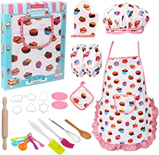 Vanmor Cute Kids Cooking and Baking Set, 24 Pcs Girls Apron and Chef Hat Dress Up Career Costume Role Kitchen Playset Supplies, Easy Bake Oven Accessories Refills Mix Kit Toy for 3 Year Old Kids Gift