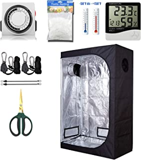 GreenHouser 48``x24``x72`` Grow Tent High Reflection Room Grow Kits for Indoor Planting +24 Hours Timer+Hangers+Temperature Humidity+Bonsai Shears+Netting Trellis