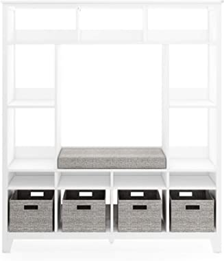 MARTHA STEWART Living and Learning Kids' Storage System (White) – Wooden Cubby with Removable Seat Cushion and Storage Bi