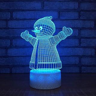 Creative 7 Couleurs LED Bouton Tactile dégradé 3D Bonhomme de Neige modélisation Lampe de Table atmosphère noël veilleuse ...
