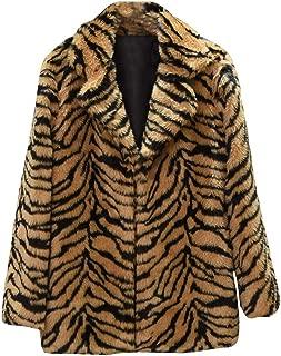 2018 New Women Casual Warm Winter Long Lapel Leopard Print Faux Fur Coat