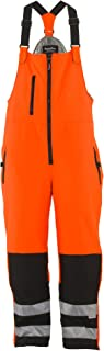 Men's Hivis Insulated Softshell Bib Overalls - ANSI Class E High Visibility with Reflective Tape