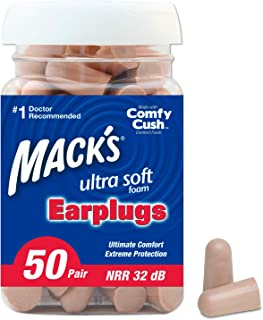 Mack's Ultra Soft Foam Earplugs, 50 Pair - 32dB Highest NRR, Comfortable Ear Plugs for Sleeping, Snoring, Work, Travel & Loud Events