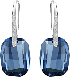 925 Sterling Silver CZ Rectangle Hook Drop Earrings Made with Swarovski Crystals
