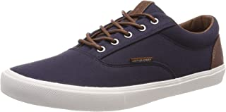 Mens Jack and Jones Vision Classic Mixed Navy Blazer Blue Canvas Trainer Size